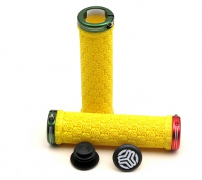 sb3 paire de grips logo lock on jaune rouge vert