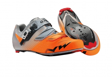 chaussures route northwave torpedo srs orange fluo gris