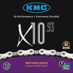 kmc chaine x10 93 silver 112 maillons 10 vitesses
