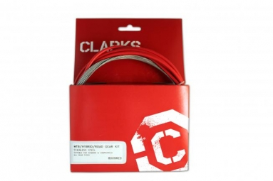 clarks kit cable gaine de derailleur rouge