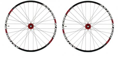 asterion paire de roues esp 26 axes 15mm et 12x142mm rouge