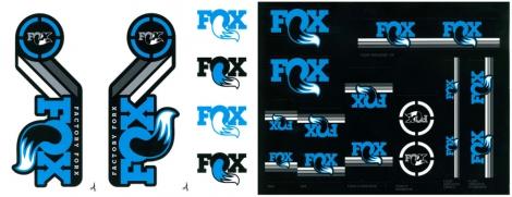 fox racing shox kit stickers heritage fourche et amortisseur bleu