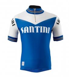 santini 2015 maillot manches courtes wool heritage bleu blanc