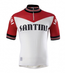 santini 2015 maillot manches courtes wool heritage rouge blanc