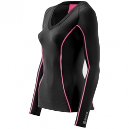 skins maillot compressif manches longues femme a200 noir rose