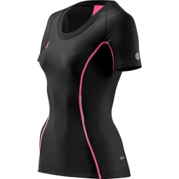 skins maillot compressif manches courtes femme a200 noir rose