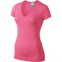 nike t shirt dri fit knit rose femme