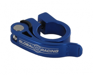 global racing collier de selle serrage rapide speedclamp alu bleu