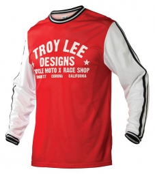 troy lee designs maillot manches longues super retro rouge