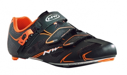 northwave paire de chaussures route sonic tech srs noir orange