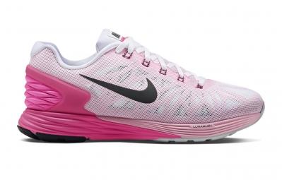 nike chaussures lunarglide 6 blanc rose femme