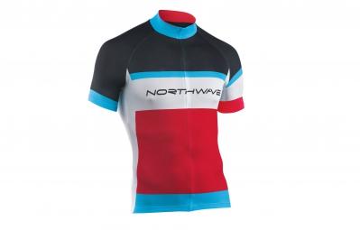 northwave maillot manches courtes logo rouge noir bleu