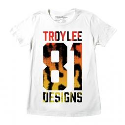 troy lee designs t shirt femme cheetah 81 crew blanc m
