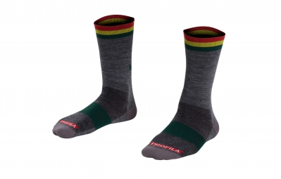 bontrager chaussettes merinos race wool socks 13cm gris rasta