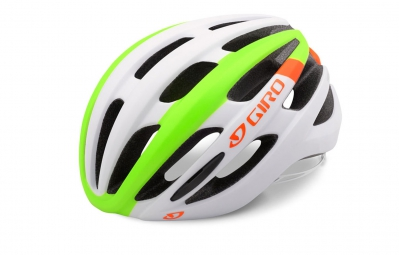 casque giro foray blanc vert orange fluo