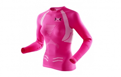 maillot manches longues x bionic the trick running rose blanc femme