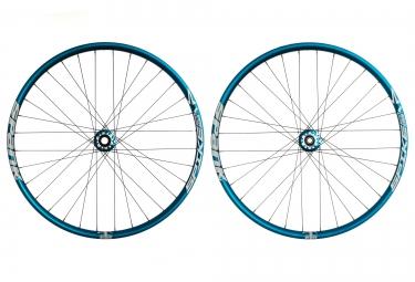 spank paire de roues spike 27 5 race axes 20mm et 150x12mm bleu