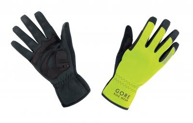 gore bike wear gants universal windstopper jaune fluo noir