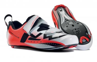 northwave paire de chaussures extreme triathlon blanc rouge