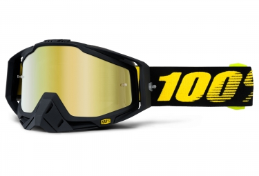 100 masque racecraft raceday noir ecran mirror gold