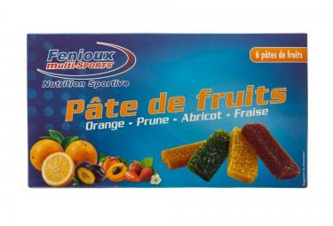 fenioux multi sports boite de 6 pates de fruits abricot fraise orange prune