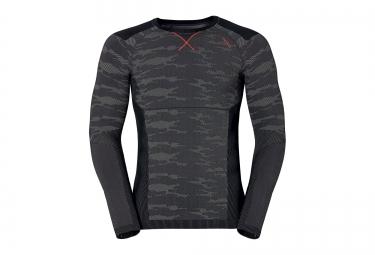 odlo t shirt manches longues evolution warm blackcomb gris rouge