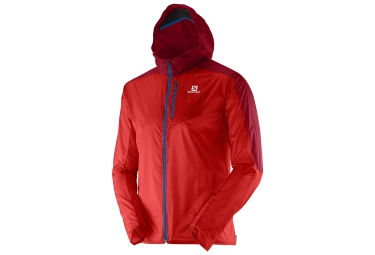 salomon veste homme coupe vent fast wing hoodie rouge
