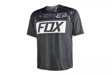 fox maillot manches courtes indicator prints heather noir