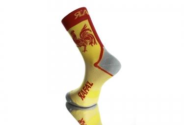 paire de chaussette rafa l carbone new coq wallon jaune rouge