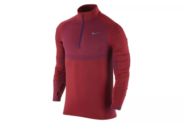 nike maillot dri fit knit half zip rouge homme