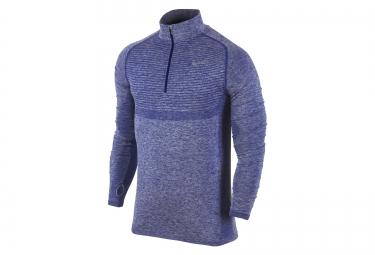 nike maillot dri fit knit half zip bleu homme