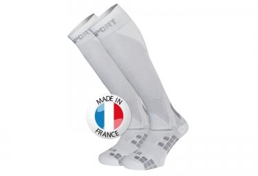bv sport chaussettes de compression xlr blanc gris