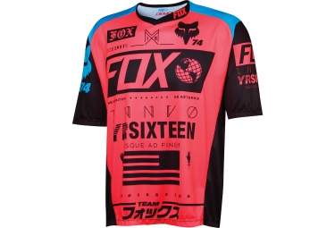 fox maillot manches courtes demo ss union rouge bleu