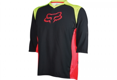 fox maillot manches 3 4 attack noir jaune rouge