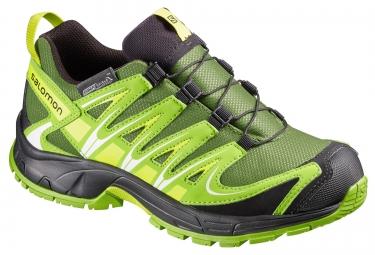 salomon chaussures xa pro 3d cswp vert noir enfant