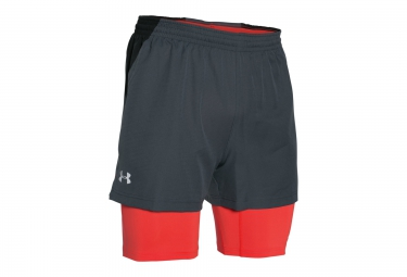 under armour short 2 in 1 launch racer gris rouge