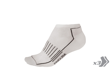 endura pack de 3 paires de chaussettes coolmax race entrainement blanc