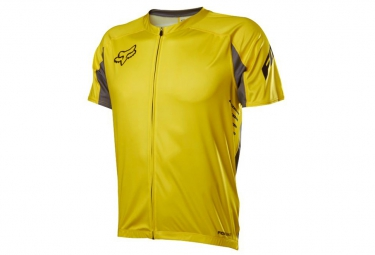 fox maillot attack zip manches courtes jaune