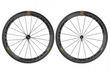 mavic 2016 paire de roues cosmic carbone 40c pneus yksion pro 23mm noir