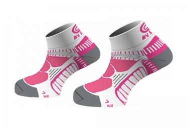 bv sport chaussettes running femina rose blanc