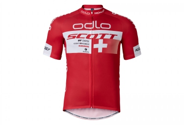 odlo maillot manches courtes team replica suisse rouge
