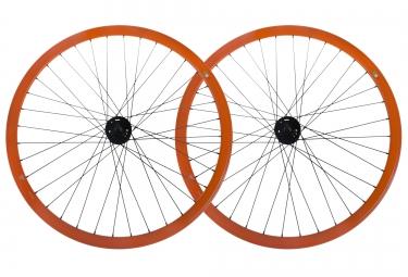gipiemme paire de roues pista fixed 700c orange