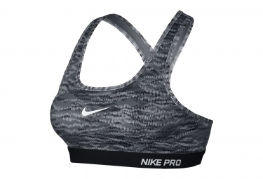 nike brassiere pro classic padded reflect gris femme