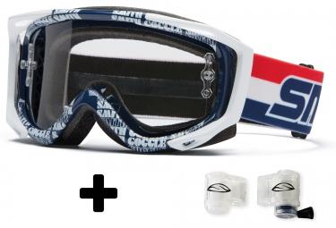 smith masque fuel v2 sweat x dr bob bleu blanc transparent roll off