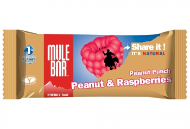 mulebar barre energetique peanut punch cacahuetes framboises 40g