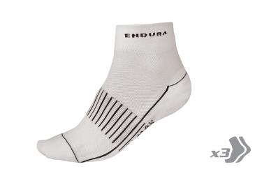endura pack de 3 paires de chaussettes coolmax race ii blanc