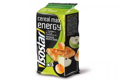 isostar barre energetique cereal max pomme abricot 3x55g