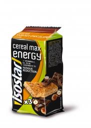 isostar barre energetique cereal max noisette chocolat 3x55g