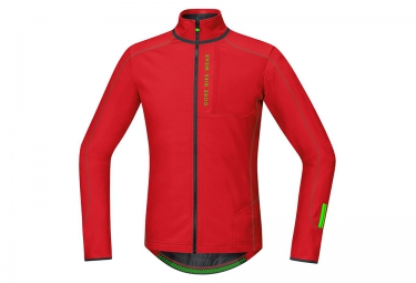 maillot thermique gore bike wear power trail thermo rouge