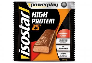 isostar barres proteinees high protein fraise 3x35gr